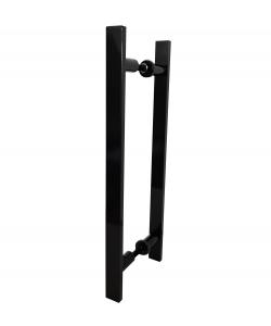 Puxador Duplo Preto Alumínio 80 cm Para Porta Madeira/Vidro