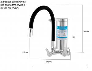 Purificador de água flex color preto com filtro ABS 1/4 volta 2174 C55
