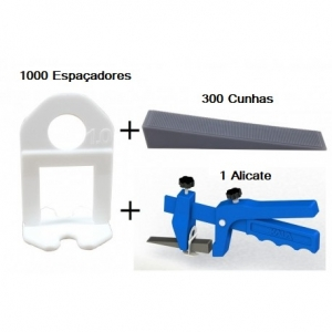 KIT NIVELADOR DE PORCELANATO 1000 CLIPS 1,00 MM + 300 CUNHAS + 1 ALICATE -