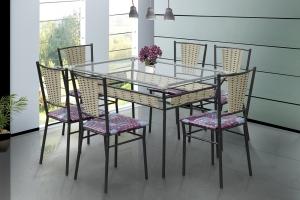 Conjunto 6 cadeiras e Mesa de Jantar Shalom Craqueado / Castanho / Retalhos Vinho